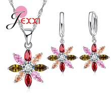 Jemmin Hot Genuine 925 Sterling Silver Necklace Set With Earrings Colorful Stone Fashion Sun Flower Cubic Zirconia Newest Coming