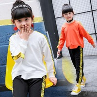 Newest Four Colors Cotton Tops Casual Pants 2 Pcs Sets Kids Baby Girl Clothes Kaqukaqi Brand