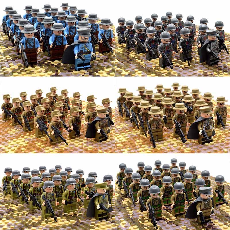 21 pz/set WW2 Truppe Dell'esercito Francia Italia Giappone CI Gran Bretagna Cina Soldati Militari Ufficiale Armi Building Blocks Giocattoli Dei Mattoni