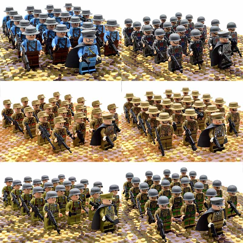 21pcs/set WW2 Army Troops France Italy Japan US Britain China Military Soldiers Officer Weapons Building Blocks Bricks Toys