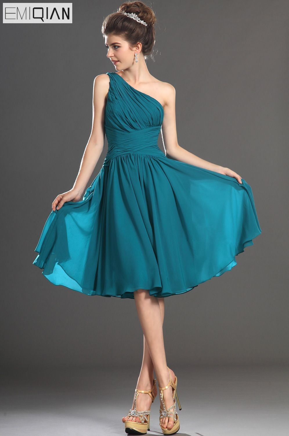 Free Shipping New Arrival One Shoulder A-Line Pleated Bodice Chiffon Cocktail Dress