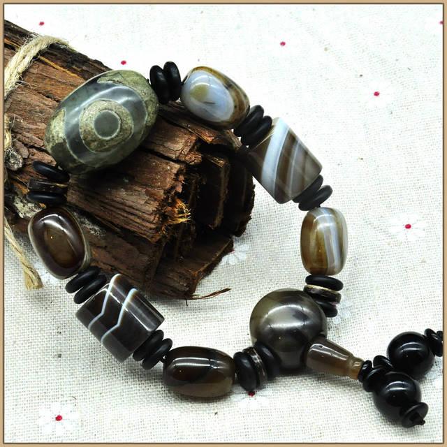 Yumten Natural Onyx Stone Barrel Beads Bracelets 16MM Crystal Black Obsidian Bracelet Dzi Unisex Anniversary Strand Bracelets