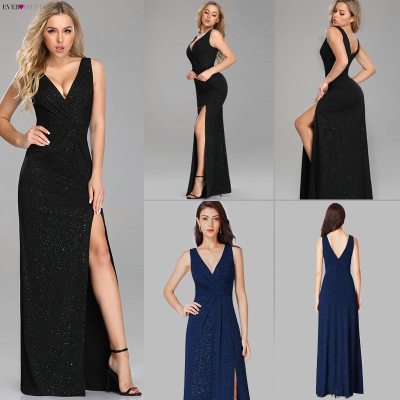 Evening Dresses Long 2019 Ever Pretty EP07505 A-line Cheap V-neck Long Gillter Side Split Long Sexy Evening Gowns For Ladies