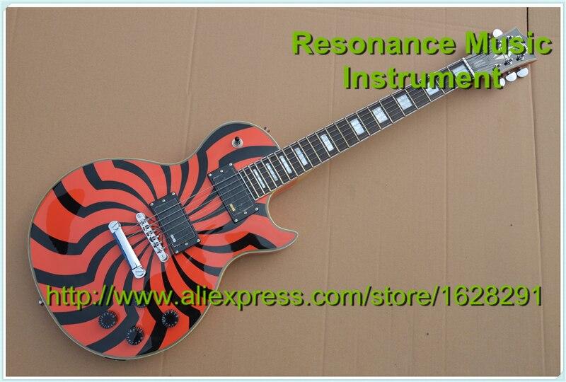 Haute Qualité Personnalisé LP Guitare Électrique Zakk Wylde Bullseye Signature Avec Chrome Matériel