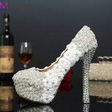 Новое поступление белый цветок дамы туфли на каблуках горный хрусталь люкс свадебное платье обувь женщина туфли на шпильках ну вечеринку выпускных вечеров обувь