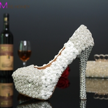 New Arrived White Flower Ladies High Heels Shoes Rhinestone Bridal Wedding Dress Shoes Woman Stiletto Heels Party Proms Shoes