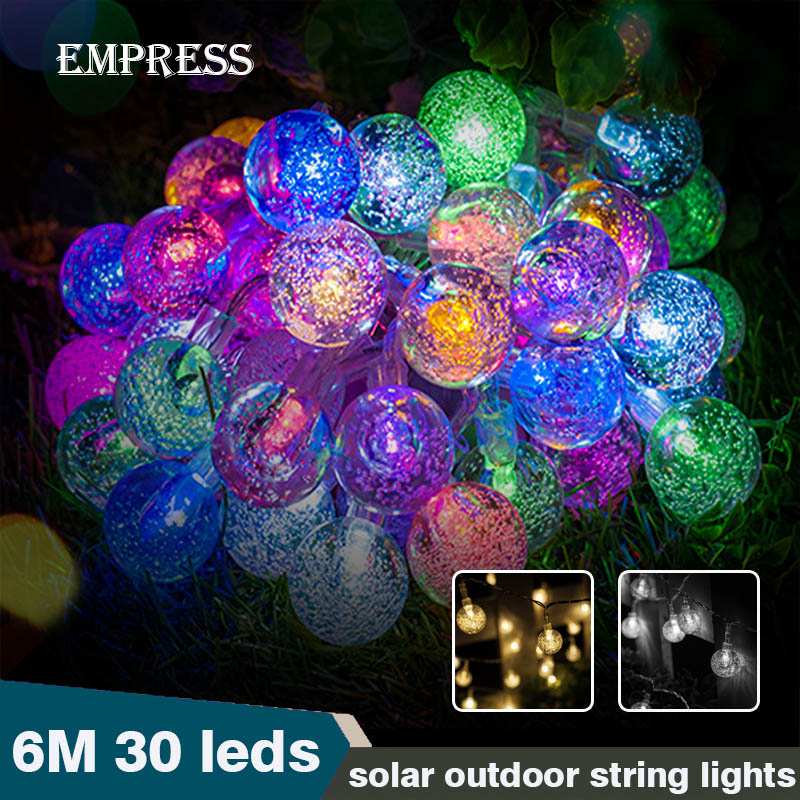 Crystal Outdoor Led Lighting String Solar Fairy Lights Christmas Garland Light Balls Waterproof Garden Light Wedding Decoration