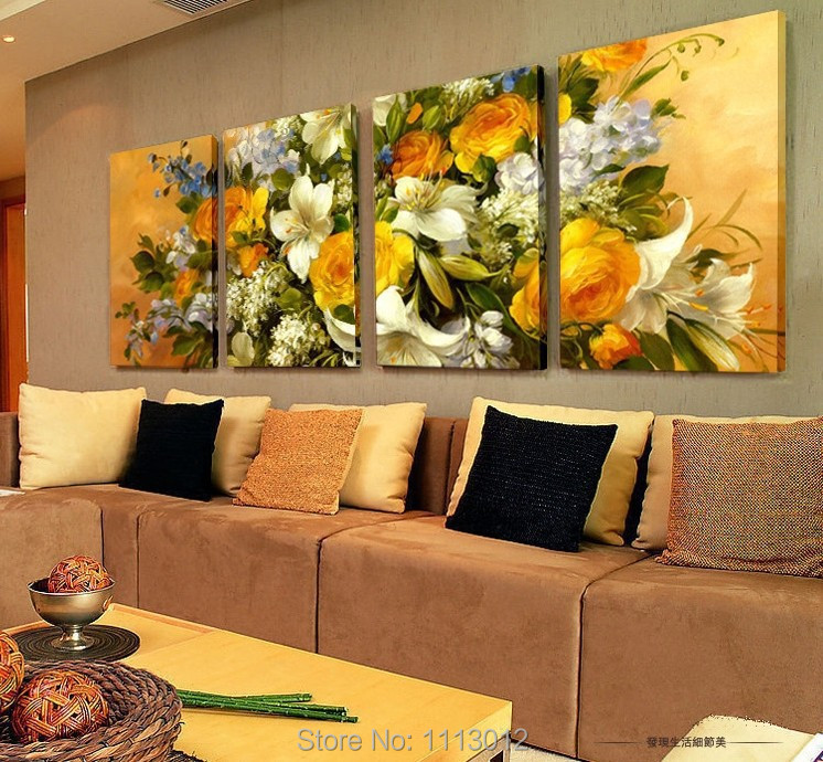 100% Hand Painted Big Rose Abstract Flower Oil Painting On