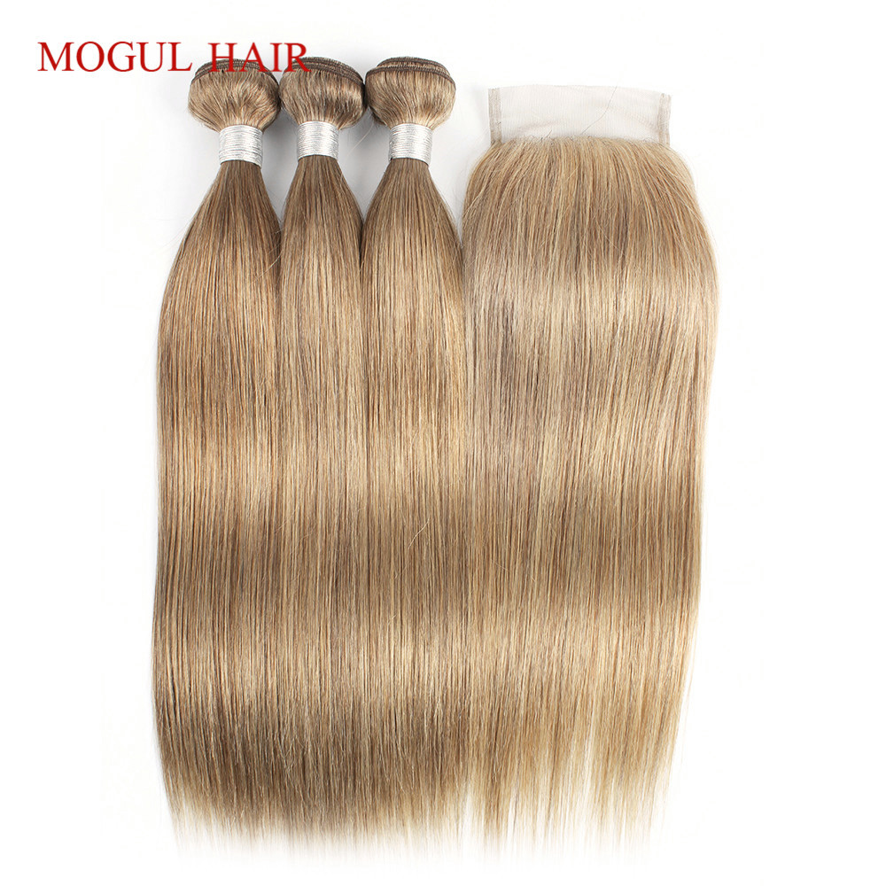 MOGUL HAIR Color 8 Ash Blonde Straight Bundles With Closure Pre Colored Brazillian Remy Human Hair