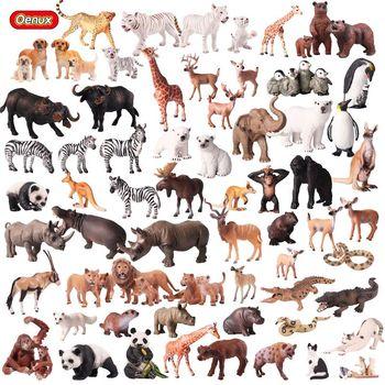 Oenux реалистичные дикие животные фигурки героев игрушечные лошадки животных зоопарк Львы Тигры медведь панда Твердые ПВХ Модель Фигурки игр...