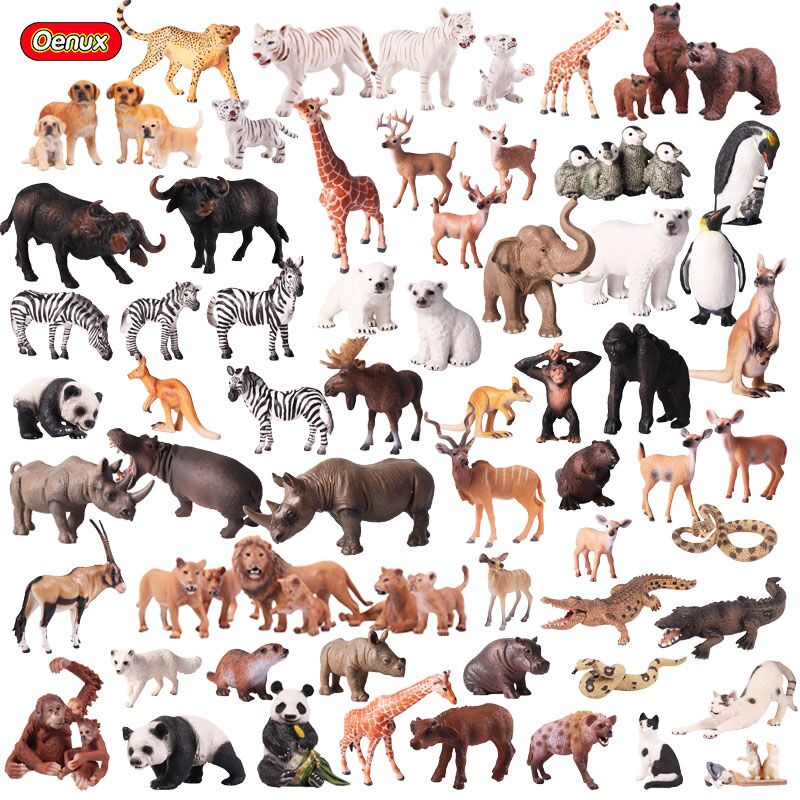 Oenux Realistic Wild Animals Action Figures Toys Animal Zoo Lions Tigers Bear Panda Solid PVC Model Figurines Toy For Kids Gift