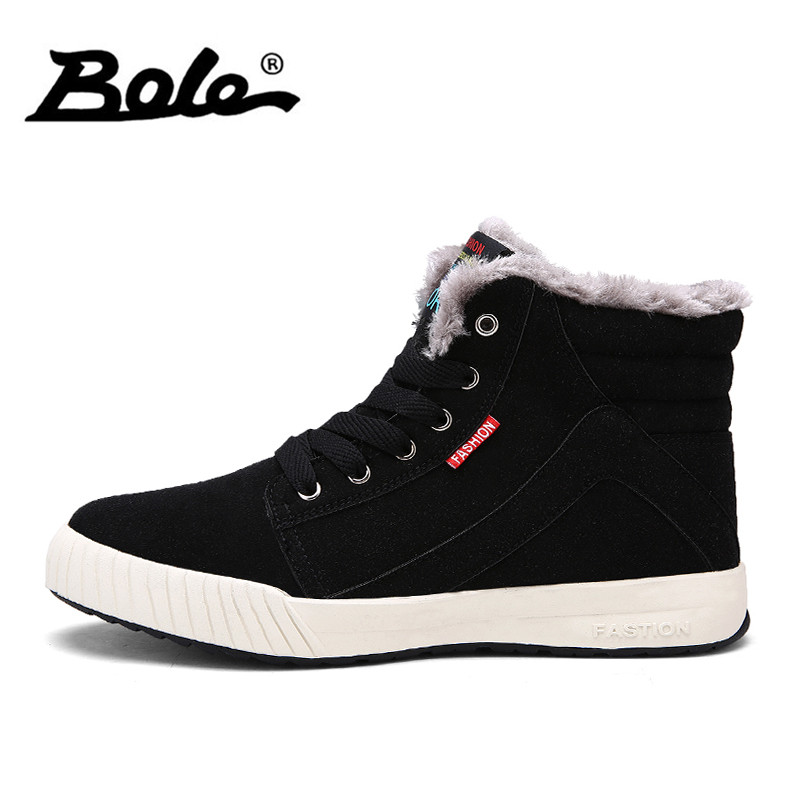 BOLE Large Size 39-48 Men Winter Boots Plush Keep Warm Casual Shoes Men High-top Lace Up Non-slip Boots Canvas Shoes Men backcamel 2018 autumn winter new men s outdoor sports shoes high top non slip wear men boots high quality sneaker size 39 47