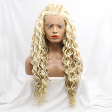 DLME Fast Shipping Hair 150% Density Deep Wave Synthetic Lace Front Wigs White To Beige Mixed Color Women Party Wig