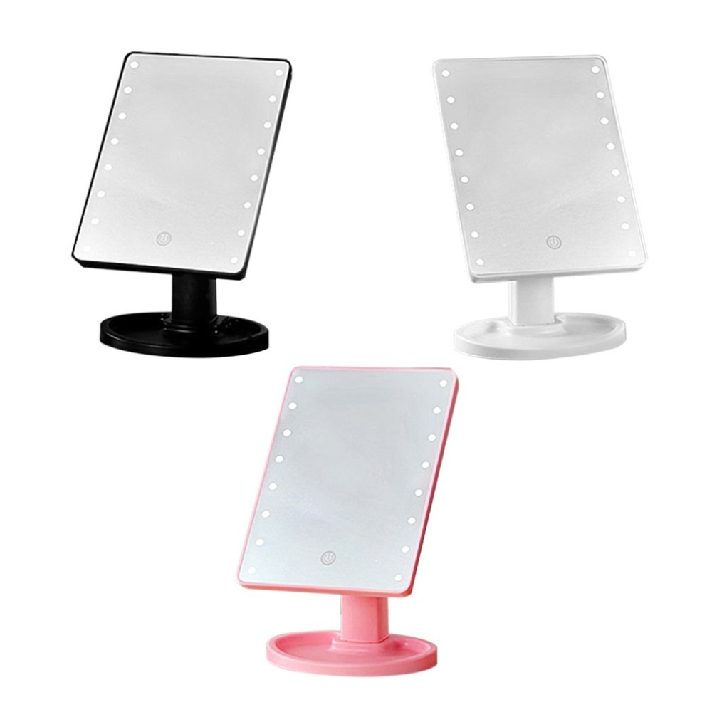 16LED lights Touch screen Women Facial Makeup Mirror 360Degree Rotation Portable Size Battery Powered desktop Cosmetic Mirrors
