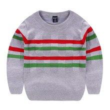 ווי חואן חדש גדול בני אביב סתיו חורף Junior של מלא כותנה פסים סוודר עבה סרוג 7 11yrs מזדמן איכות סוודרים