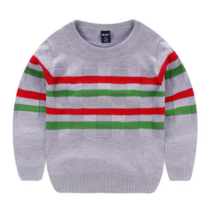 Image 1 - Wei Juan New Big Boys Spring Autumn Winter Juniors Full Cotton Striped Pullover Thick  Knitted 7 11yrs Casual Quality Sweaters