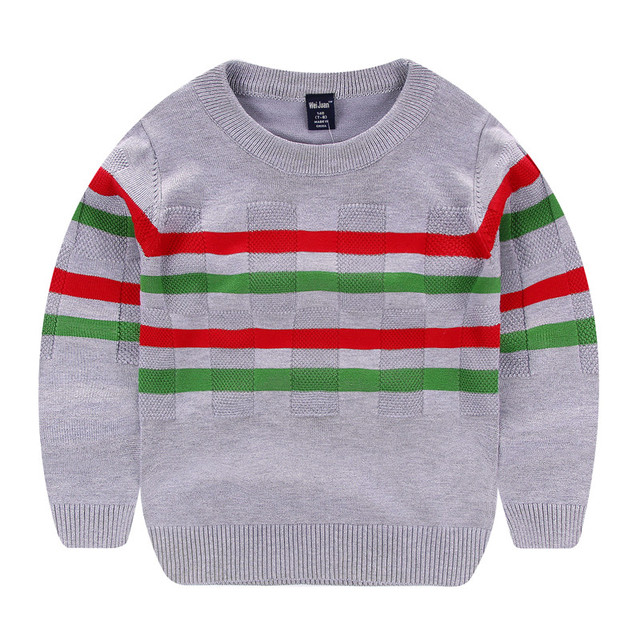 Wei Juan New Big Boys Spring Autumn Winter Juniors Full Cotton Striped Pullover Thick  Knitted 7 11yrs Casual Quality Sweaters