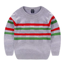 Новинка от Wei Juan, весенне осенне зимний пуловер в полоску из хлопка для мальчиков ясельного возраста, плотные вязаные повседневные качественные свитера для 7 11 лет