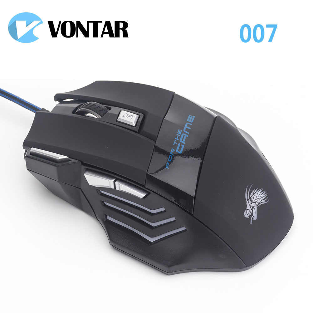 Vontar Professionele 5500 Dpi Wired Gaming Mouse 7 Knoppen Led Optische Usb Muizen 007 Voor Pro Gamer Computer Pc Beter dan X7