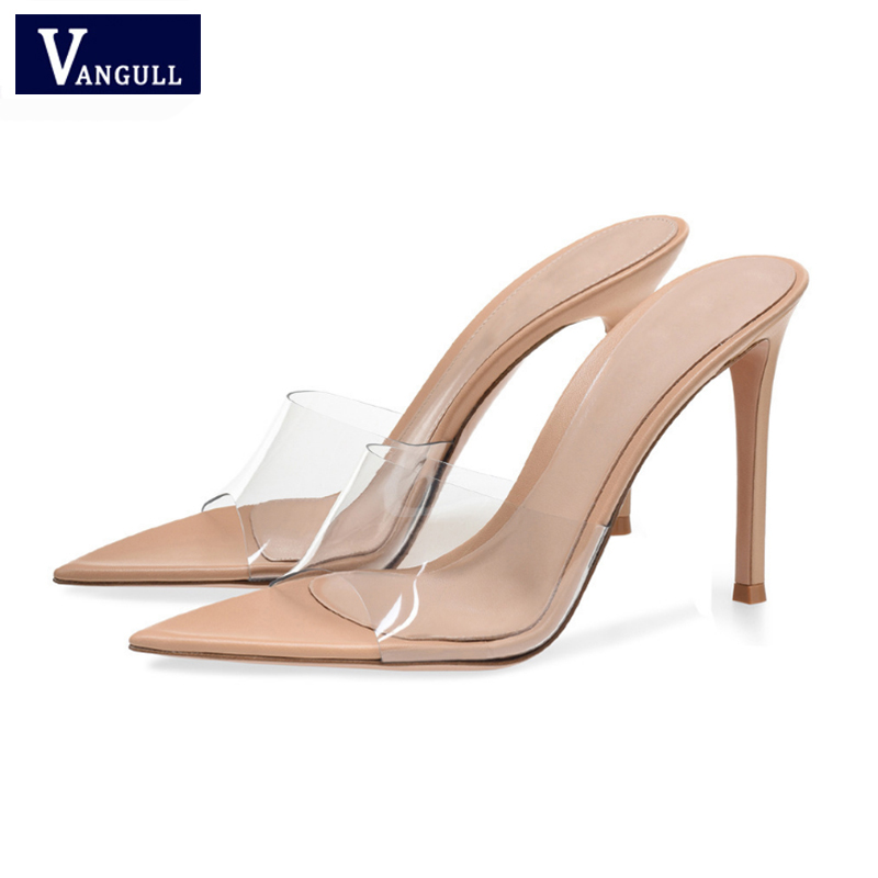 New PVC Women Slippers Big Size 35-43 Pointed Toe Super High Heel Shoes Woman Party Outside Ladies Shoes