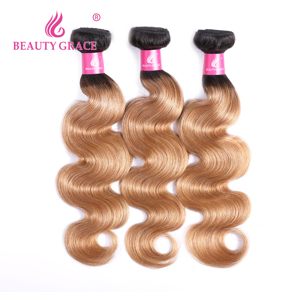 Beauty Grace 3 Bundles Deal Ombre Blonde Brazilian Body Wave T1B/27 Human Hair Weave Bundles 2 Tone Honey Blonde Hair Extensions-in 3/4 Bundles from Hair Extensions & Wigs    1