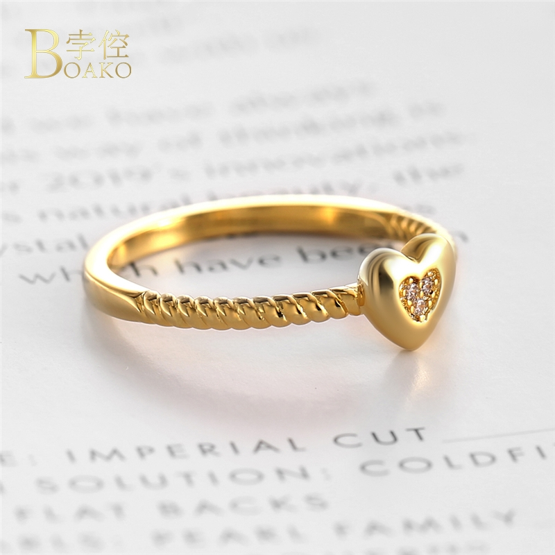 BOAKO High Quality Dainty Ring Micro Paved Cubic Zirconia Heart Rings for Women CZ Stone Crystal Bague Jewelry Gift B3 in Engagement Rings from Jewelry Accessories