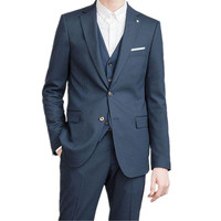 Business Men Formal Suits Custom Made Dark Blue Notched Lapel Men Suits For Wedding Men Slim