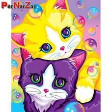 ParNarZar 3D Full Drill DIY Diamond Painting Kits - Cute Two Kittens Rhinestone Mosaic Needlework For Home Wall Decorations