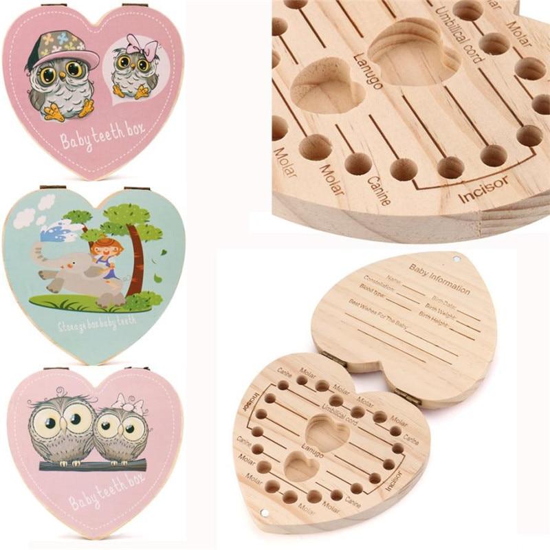 LOVE Heart English And Spanish Kids Tooth Box Organizer Owl/Elephant  Paint Baby Save Milk Teeth Wood Storage Box Gift For Child(China)
