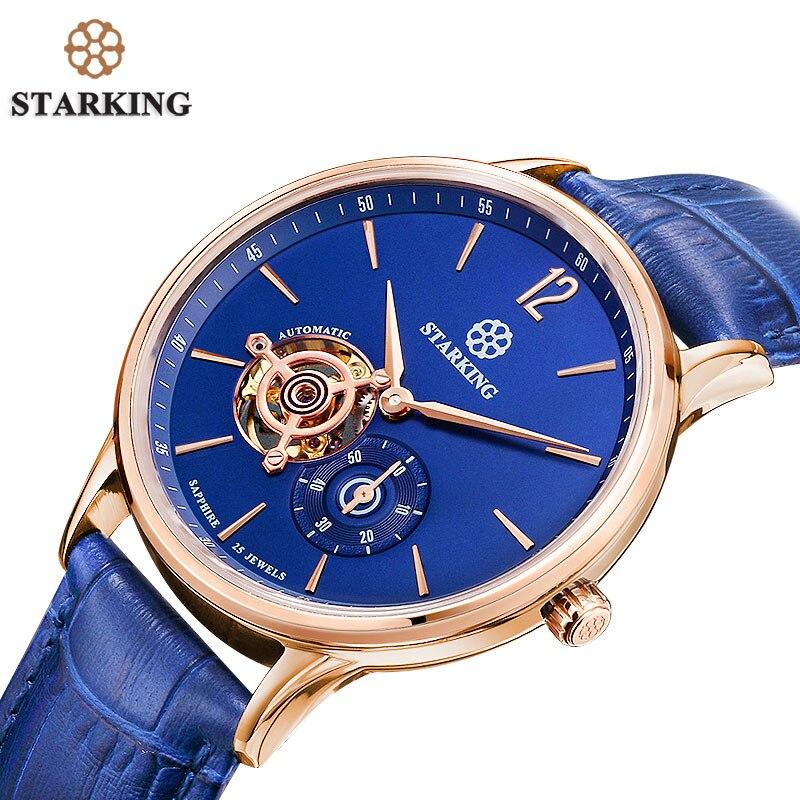 c3457d7eaf0 STARKING Nova Marca Men Mecânica relógios de Pulso Skeleton Tourbillon  Analógico Relógio Automático de Couro Genuíno Famosa Marca Azul Macho em  Relógios ...