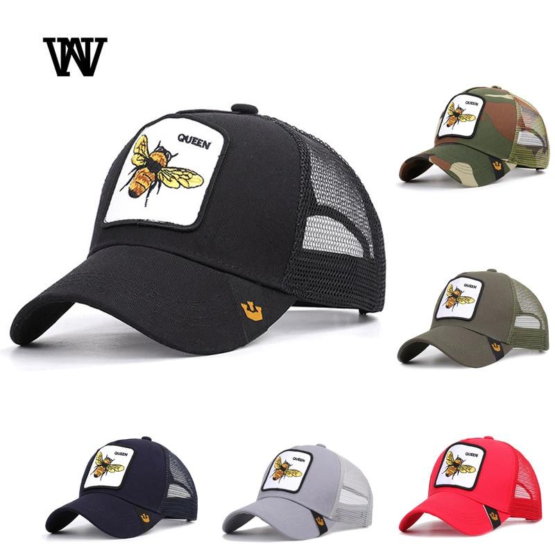 Bee Embroidery Men's and Women's   Baseball     Caps   2019 Mesh Snapback Adjustable Sunshade Hip Hop   Caps   Summer Bone Dad Hats BQM-CZX9