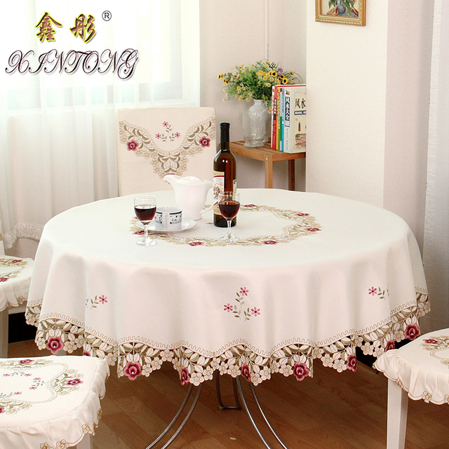 TY1018 European Pastoral Embroidered Tablecloth Round Hotel Dining Table  Cloth Carbinet Cover For Wedding Decoration Gift