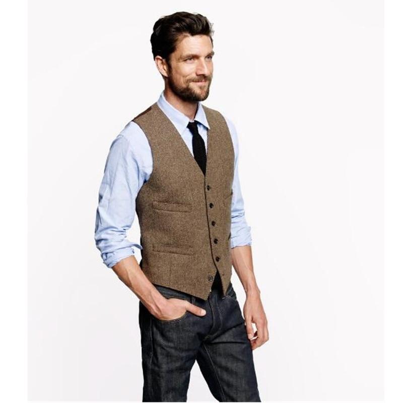 Jacket Dress Bestman Wedding Vests Suit Groom Brown Wool Mens Sleeveless Slim Custom-Made
