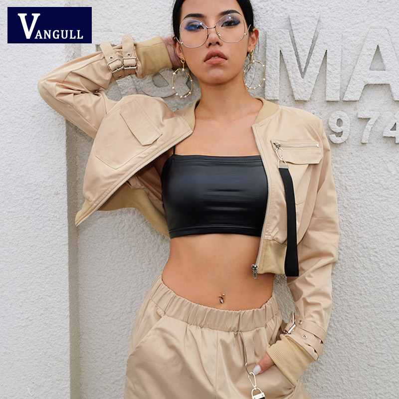 Vangull Ribbon Zipper Pocket Khaki Jackets Women 2019 New Spring Autumn Front Stand Collar Long Sleeve Crop bomber Jackets pocket