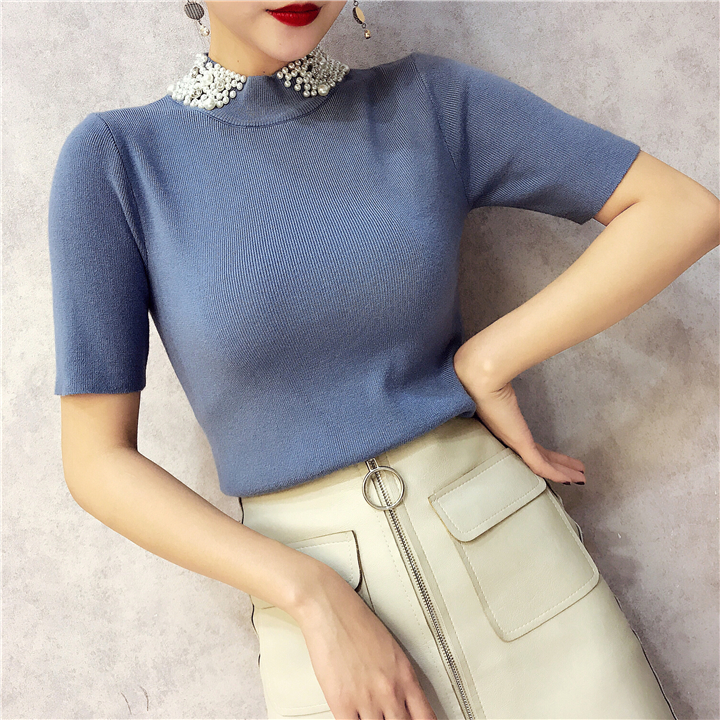 ALPHALMODA 18 Summer Ladies Short-sleeved Pearl Collar Pullovers Casual Slim Knit Sweater Women Studded Fashion Jumpers 12
