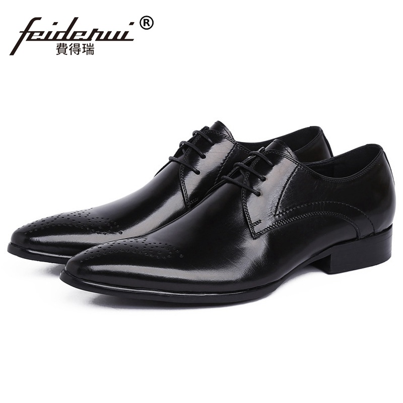High Quality Pointed Man Formal Wedding Dress Shoes Luxury Brand Genuine Leather Male Oxfords Italian Men's Bridal Flats LF80 men s dress shoes genuine leather formal shoe for men high quality mens oxfords business formal flats luxury wedding style