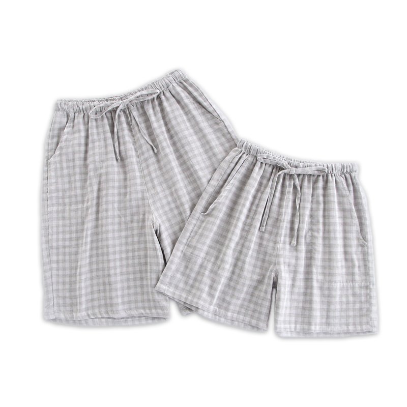 Summer Cozy 100% Cotton Couple Sleep Bottoms Men Shorts Pure Color Casual Plaid Sleep Pants Shorts Sheer Mens Pants