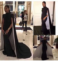 Mermaid Black Girl Prom Dress with Cape Satin Vintage Formal High Neck Evening Gowns for Dinner Party vestidos cerimonia longos
