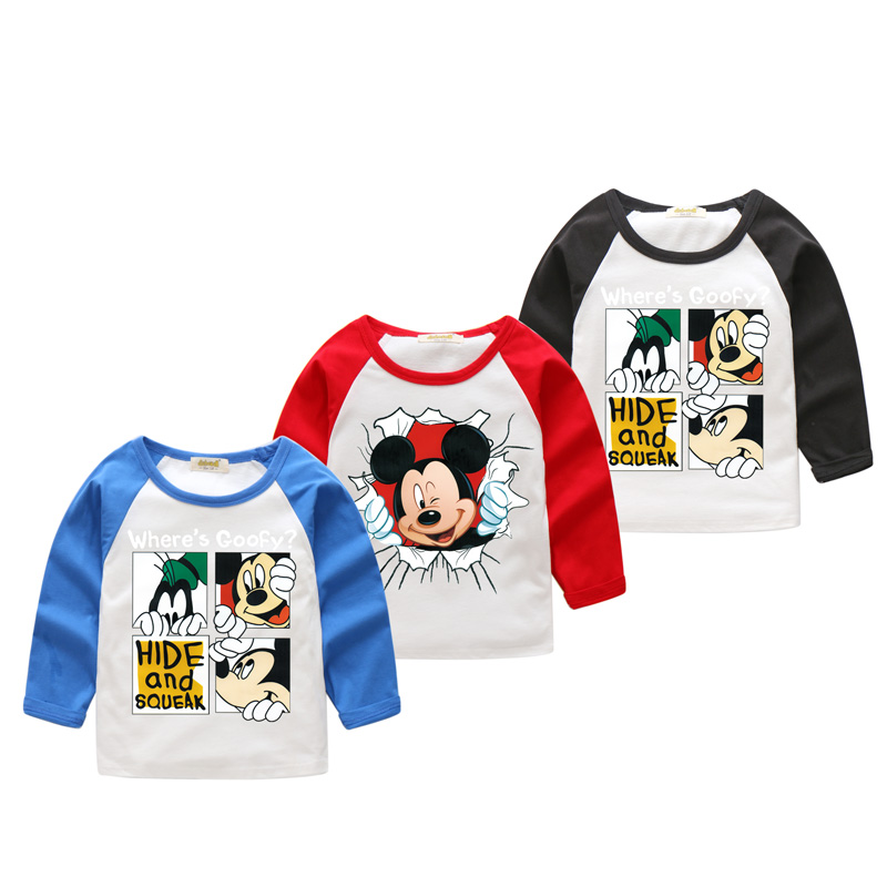 2018 New Years Children Long Sleeve O-Neck T-shirts Boy Cartoon 3D Mickey Printed Tshirt Girls Tee Tops Clothes For Kids CX016 женская футболка 3d 2015 t tshirt blusas femininas t 3d print
