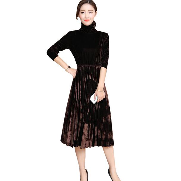 US $19.13 49% OFF|5XL Women Green Black Velvet Dress Winter Turtleneck  Dress Long Sleeve Vintage Pleated Dresses Plus Size Women Vestidos DC89-in  ...