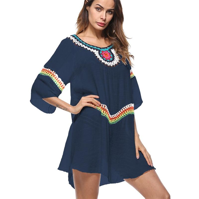 c418d0045a6d5 Bkning Half Sleeve Beach Dress Cotton Dresses Beach May Women Swimsuit  Swimwear Cover Ups Swim Suit Tunics White Wear 2018 Sey