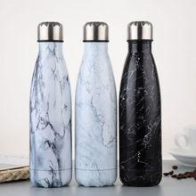 500 мл бутылка для воды с вакуумной изоляцией, Термокружка, Спортивная, холодная, горячая, холодная чашка из нержавеющей стали, креативная кружка с мраморной головкой