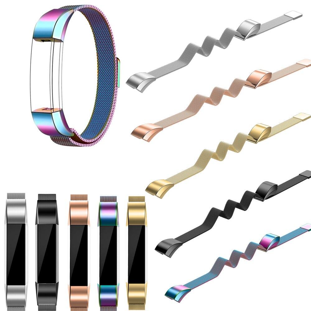 Para Fitbit Alta HR e Alta Bandas Joyozy Substituição Bandas de Metal de Prata em Ouro Rosa de Aço Inoxidável De Malha Mesh Black Rainbow