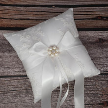 Quality Lace Wedding Ring Pillow 18x18cm Faux Pearl Decorative Marriage Holder Bridal Alliance Cushion Bearer