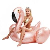 Giant 150cm Rose Gold Inflatable Flamingo Floating Bed Inflatable Pool Float Pool Toys Flamingo Inflatable Float Pool Mattress