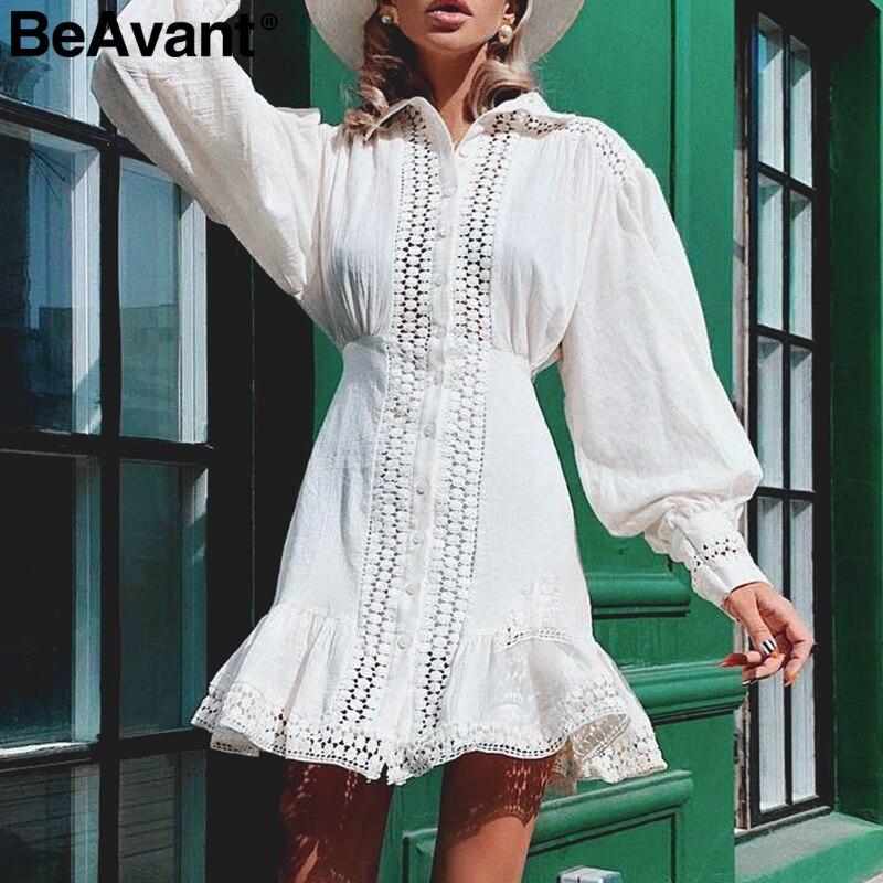 BeAvant Элегантный kороткие кружевные хлопчатобумажные платья фонарь рукавом A-Line зимнее платье Осень шикарное белое платье 2019