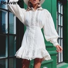 BeAvant ahueca hacia fuera el vestido blanco del algodón mujeres elegante linterna manga vestidos de invierno sirena a line mujer otoño vestidos