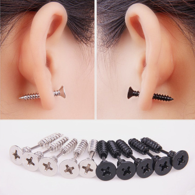 Modyle Black Silver Color Selection Fashion Novelty Item Unisex Fine Stainless Steel Whole Screw Stud Earrings.jpg 640x640 - Modyle Black/Silver Color Selection Fashion Novelty Item Unisex Fine Stainless Steel Whole Screw Stud Earrings For Men Women