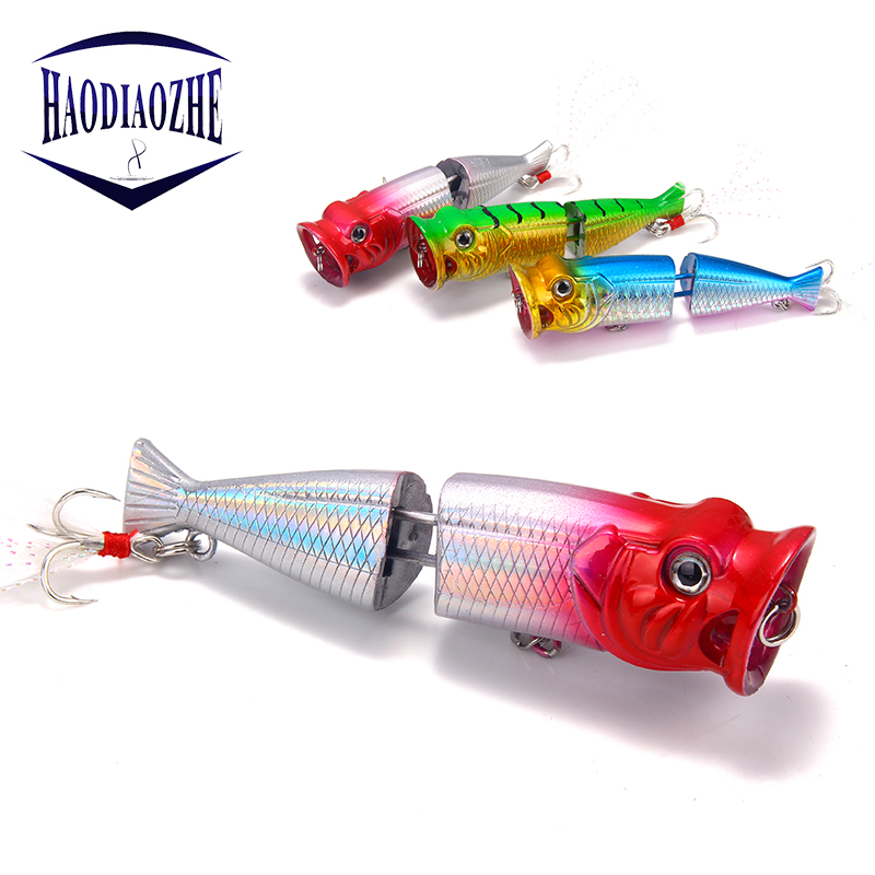 HAODIAOZHE Popper Hard Lure Fishing Lures 8cm 11g Topwater Disconnect Floating Wobblers Artificial Crank Pesca Feather Baits YU3