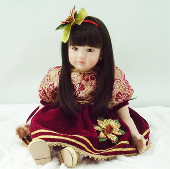 Fashion vinyl silicone reborn baby dolls accompany lifelike princess toddler doll kid high-end christmas birthday boutique gifts